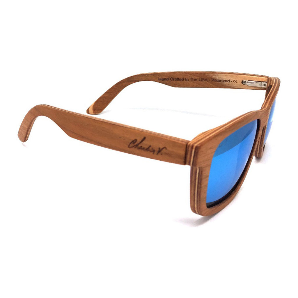 Charlie V. Cherry & Maple Frame with Ice Blue Lenses