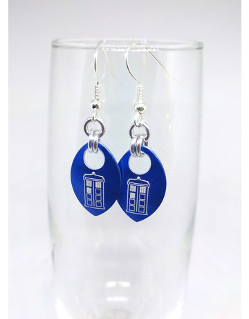 Split Infinity Nerdy Scale Earrings - Doctor Who (Blue)