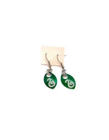 Split Infinity Harry Potter Scale Earrings Green Slytherin