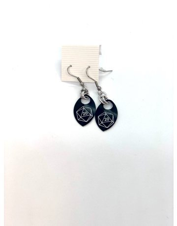 Split Infinity Nerdy Scale Earrings - D20 (Black)