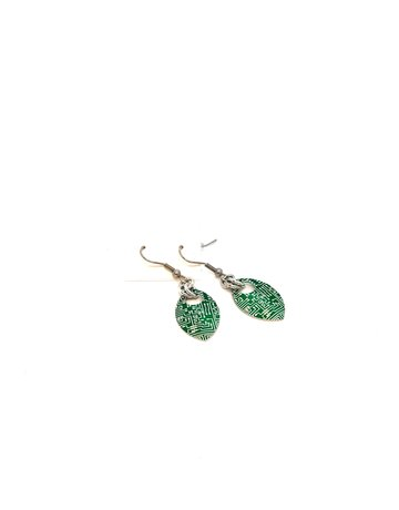 Split Infinity Nerdy Scale Earrings - Circuit Board (Green)