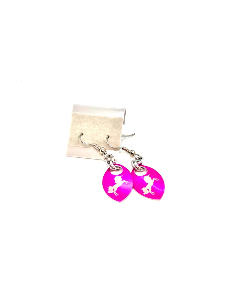 Split Infinity Nerdy Scale Earrings - Unicorn (Pink)
