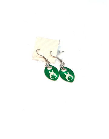 Split Infinity Nerdy Scale Earrings - Totoro (Green)