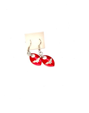 Split Infinity Super Hero Scale Earrings - Wonder Woman (Red)