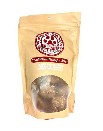 Beer Paws Peanut Butter Flavor Beer Biscuits - Craft Beer Treats for Dogs - 6 oz.
