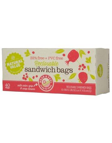 Natural Value Reclosable Sandwich Bags - 40 Count