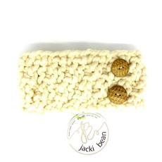 JackiBean Cream Button Band Headband