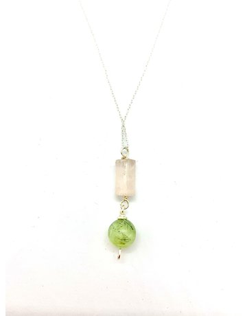 Amy Cousin Jewelry Rose Quartz and Prehnite Drop Pendant on Silver Plated Chain