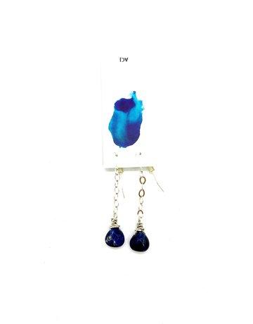 Amy Cousin Jewelry Sodalite Briolette Chain Drop Earrings