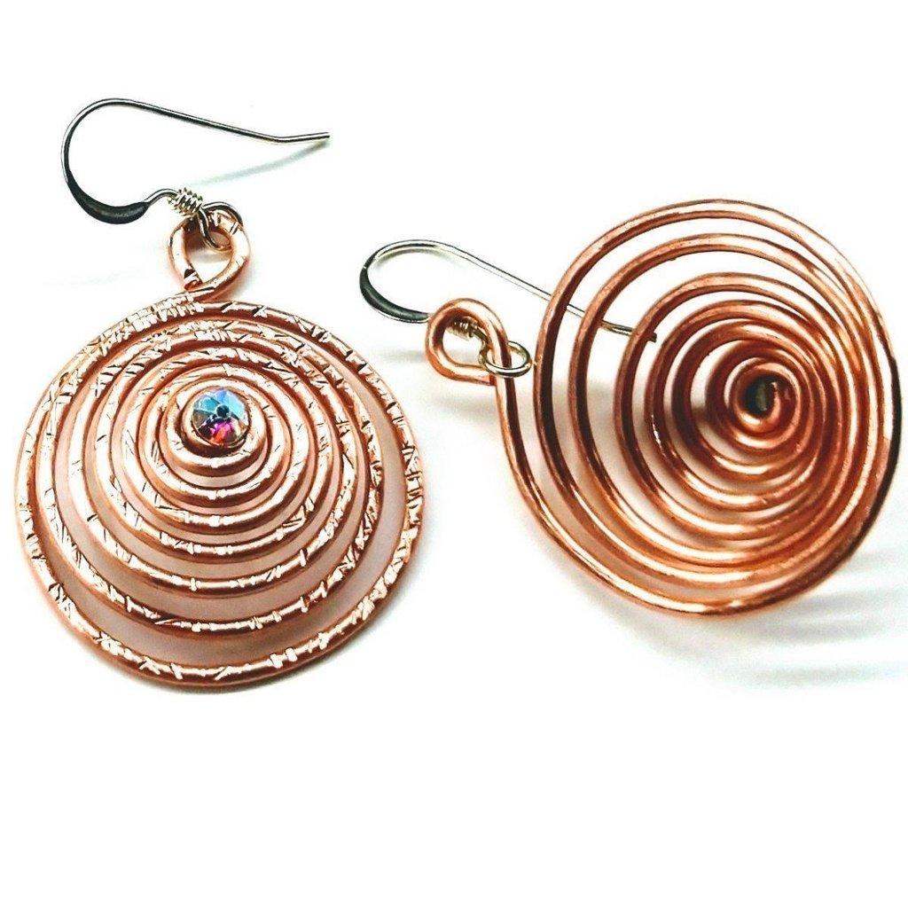 Lexi Butler Designs Copper Spiral Crystal Earrings