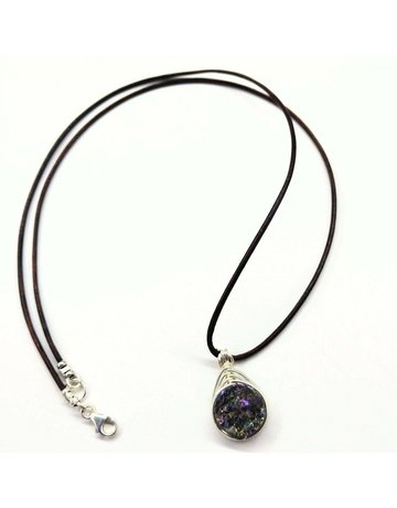 Lexi Butler Designs Rainbow Druzy Agate Silver Wire Wrap Herringbone Necklace