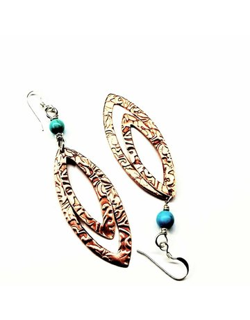 Lexi Butler Designs Long Pointed Oval Copper And Turquoise Earrings