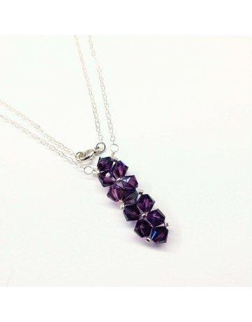 Lexi Butler Designs Silver Vertical Beaded Crystal Bar Necklace