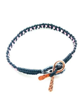 Lexi Butler Designs Copper Pink and Black Breast Cancer Ribbon Bracelet