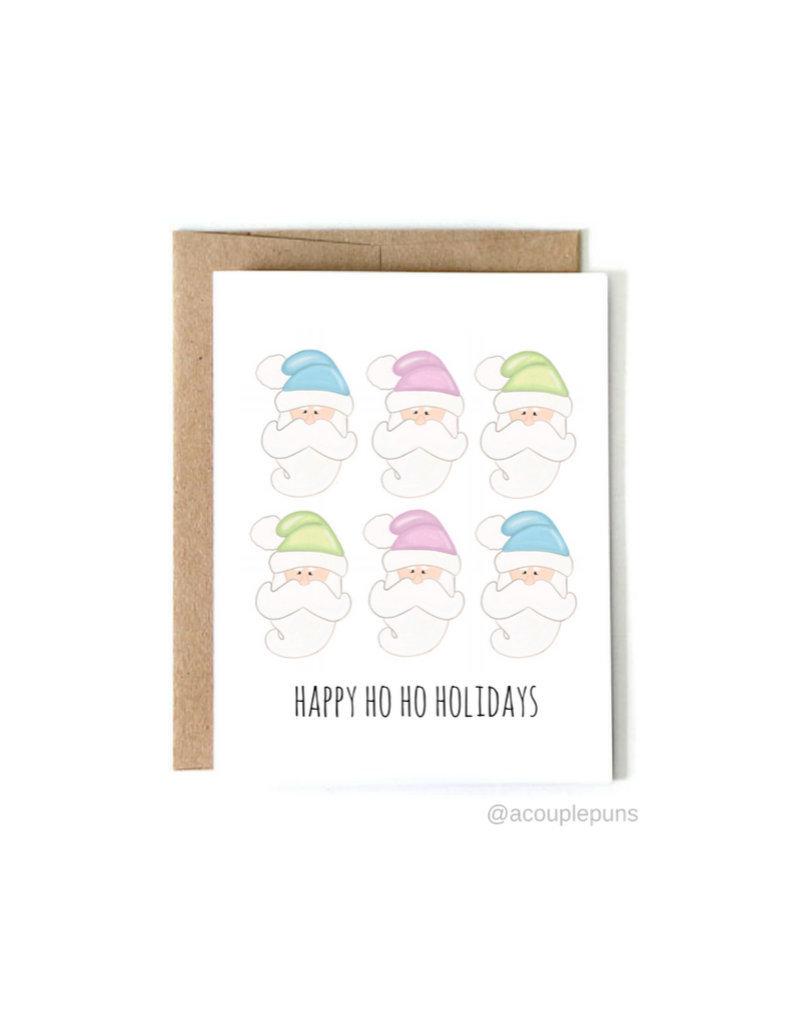 aCouple Puns Happy Ho Ho Holidays Card