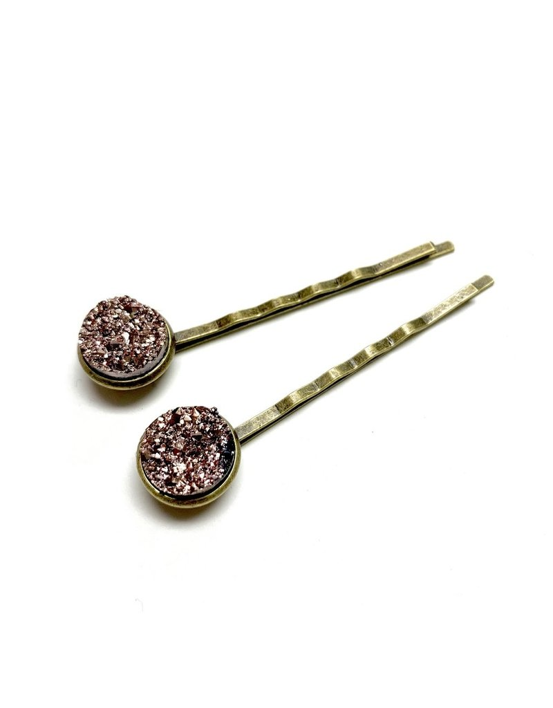 All Up In The Hair Rose Gold Druzy Bobby Pins