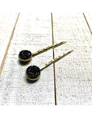 All Up In The Hair Black Druzy Bobby Pins
