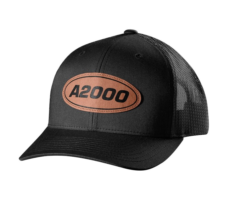 A2000 Leather Patch Trucker Hat - Black