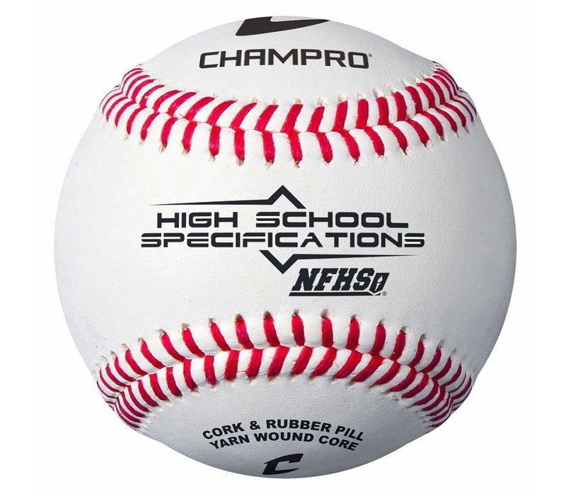 NFHS/SEI/NOCSAE Approved Baseball - Full Grain Leather - Dozen