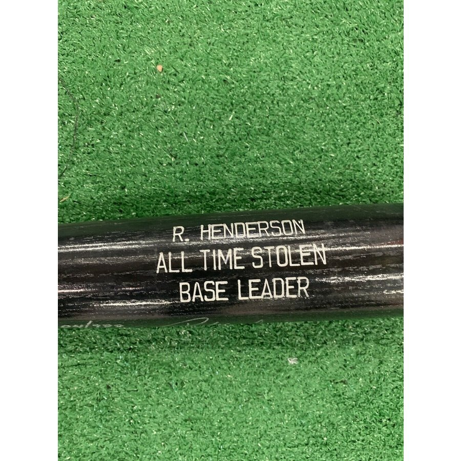 Rickey Henderson Oakland Athletics Signed Rawlings Bat All Time Steals 104/938