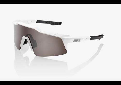 100% Speedcraft SL Matte White - HiPER Silver Mirror Lens Sunglasses