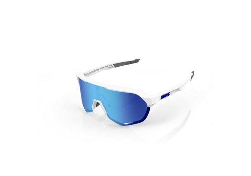 100% S2 Matte White - HiPER Blue Multilayer Mirror Lens Sunglasses