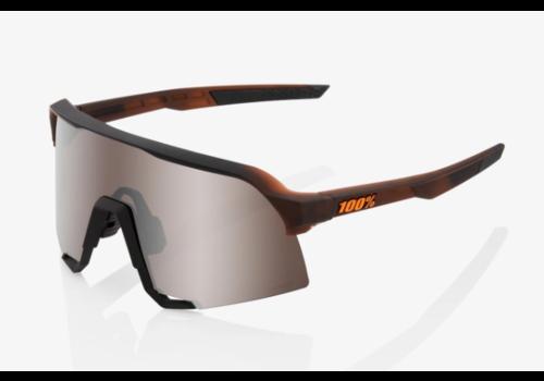100% S3  Matte Translucent Brown Fade - HiPER Silver Mirror Lens Sunglasses