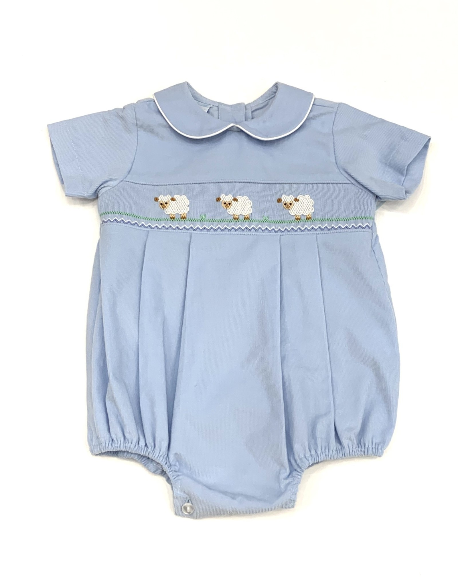 Petit Bebe Lambs Boy Bubble Light Blue Corduroy