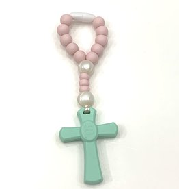 Teething Rosary Mint/Pink Small