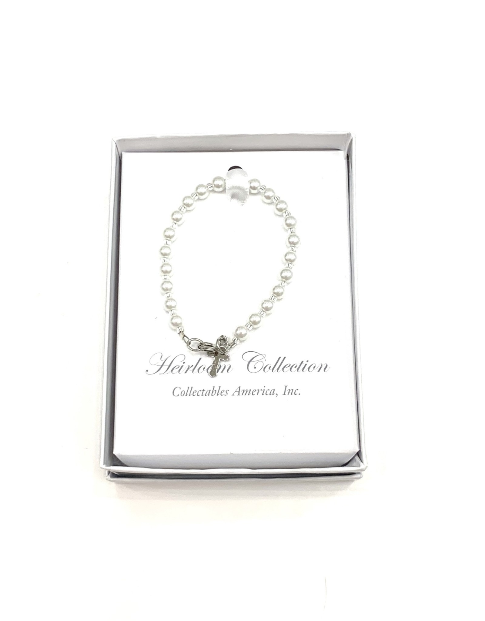 """Collectables 5"""" Fresh Water Pearl Bracelet with SS Cross"""