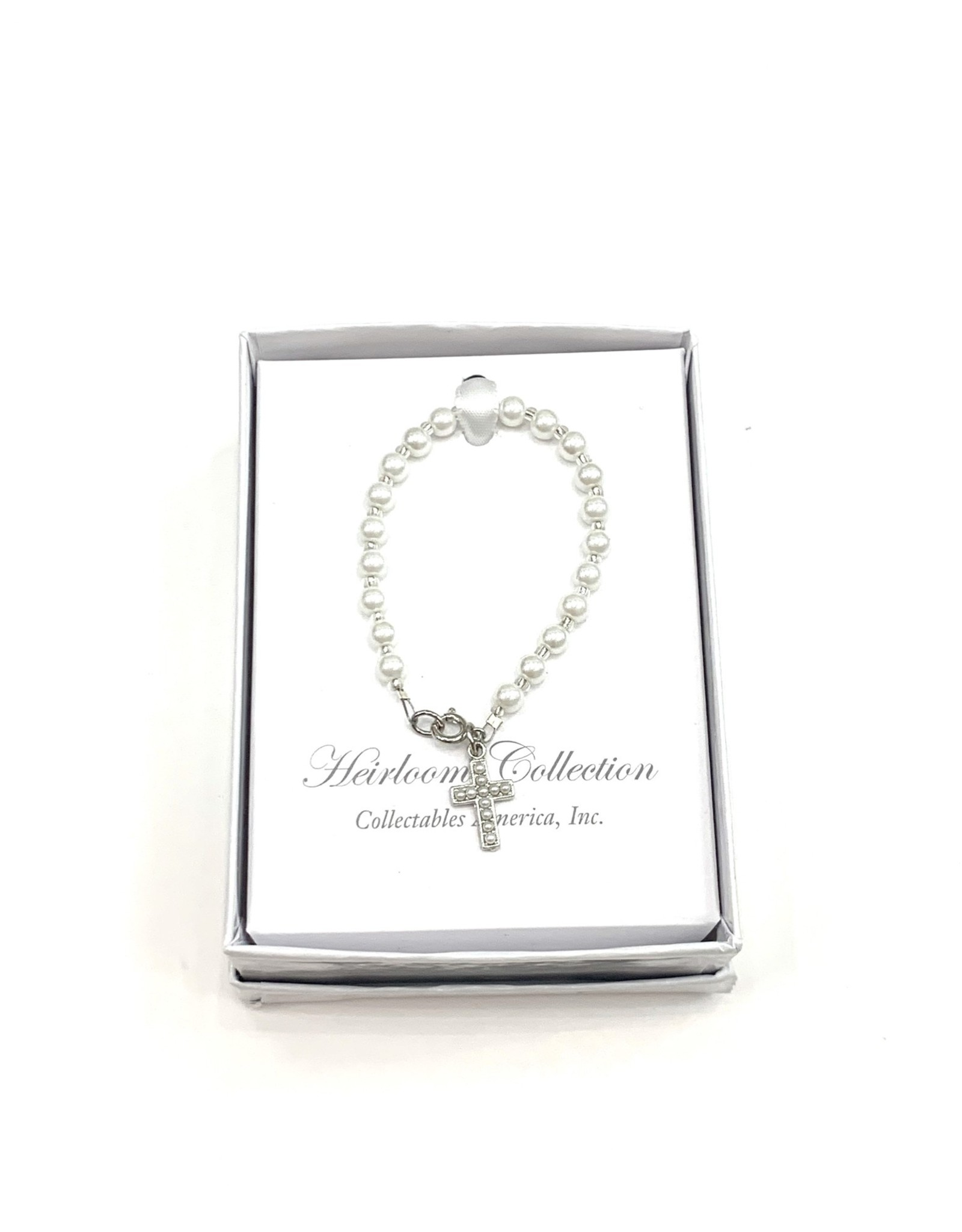 """Collectables 5"""" Pearl Bracelet with Pearl Cross"""