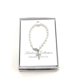 "Collectables 5"" Pearl Bracelet with Pearl Cross"