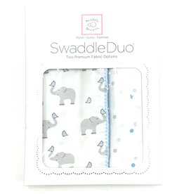 Swaddle Designs Swaddle Duo Blue Elephant And Chickies With Dots