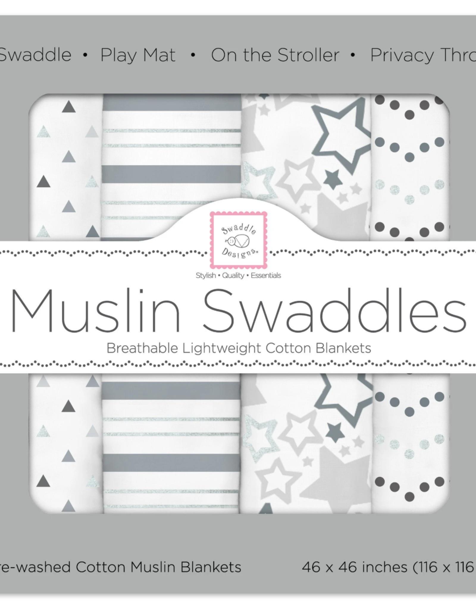 Swaddle Designs Muslin Swaddle 4pk Starshine Shimmer Grey