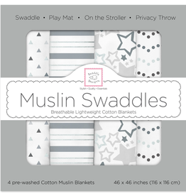 Swaddle Designs Muslin Swaddle 4pk Starshine Shimmer Grey