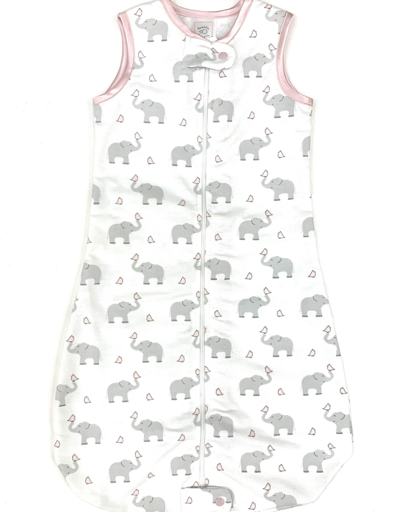 Swaddle Designs Zip Me Flannel Sleep Sack Elephants And Chicks Pink