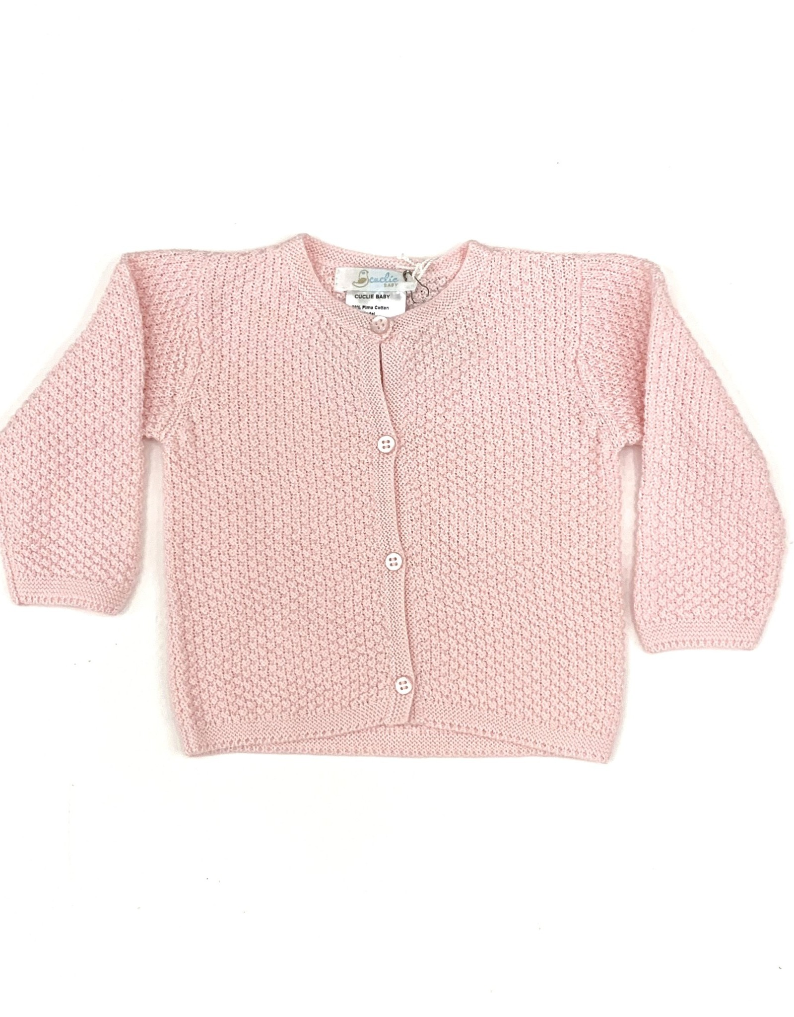 Cuclie Baby Contrast Knit Cardigan Pink