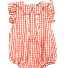 Sage and Lilly Pleated Button Bubble-Coral Gingham