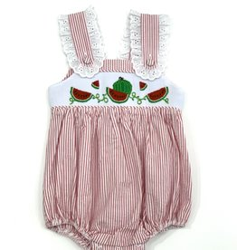 Zuccini Smocked Girl Watermelon Red Seersucker Stripe Bubble
