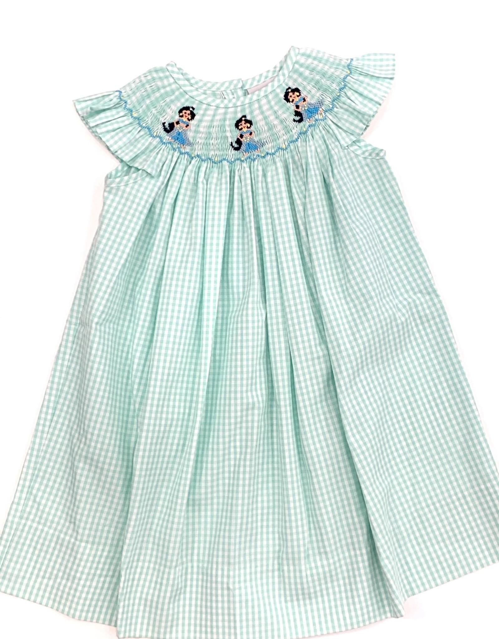 Girls Aqua Check Jasmine Bishop Dress