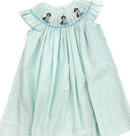 Delaney Girls Aqua Check Jasmine Bishop Dress