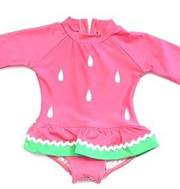 Florence Eiseman Pink Watermelon Longsleeve Swimsuit Onesie