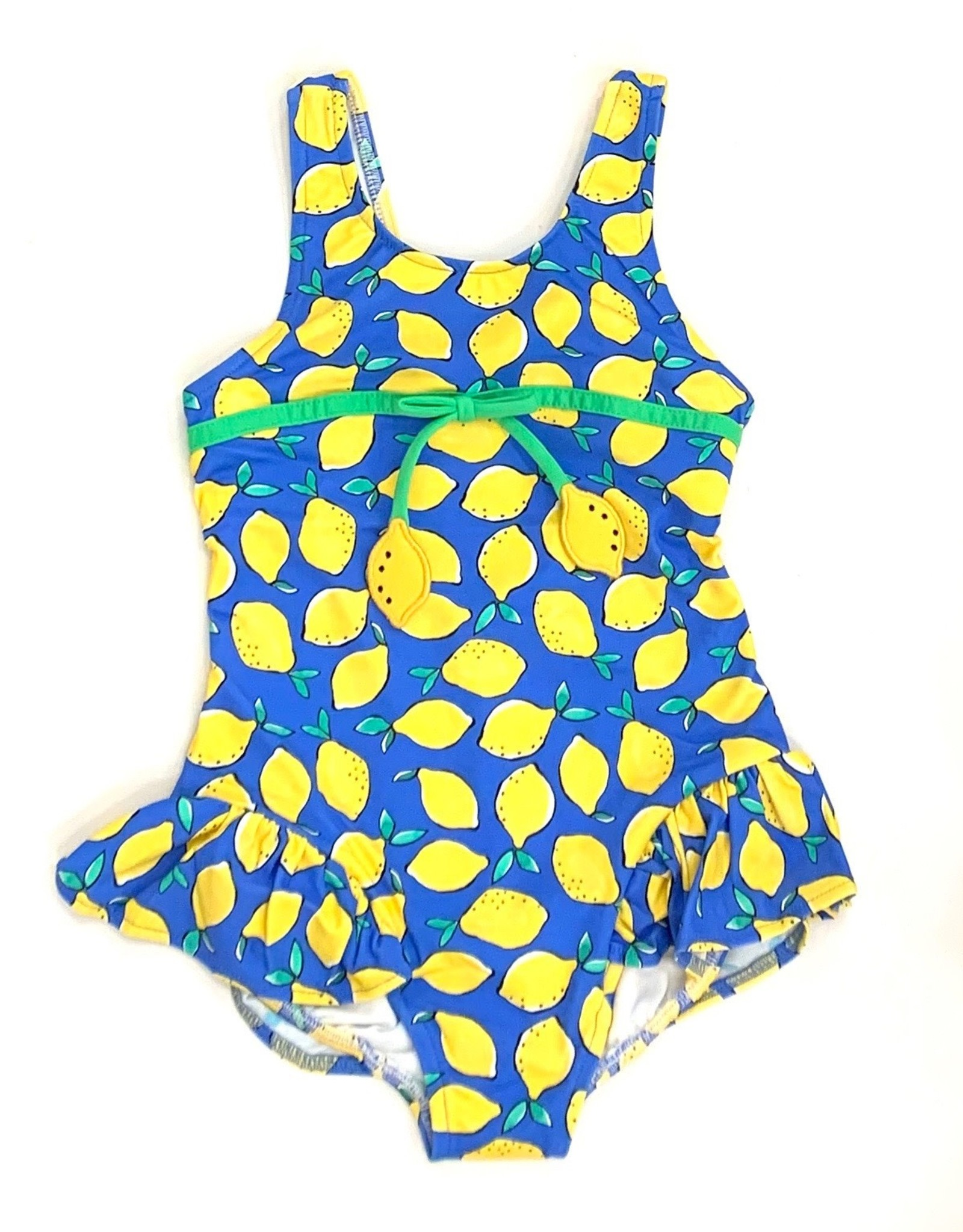 Florence Eiseman Blue Lemon Ruffle Swimsuit