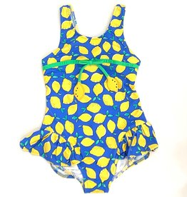 Florence Eiseman Blue Lemon Ruffle Swimsuit