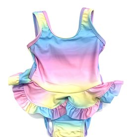 Flap Happy Girls Rainbow Ruffle Swimsuit With Snap