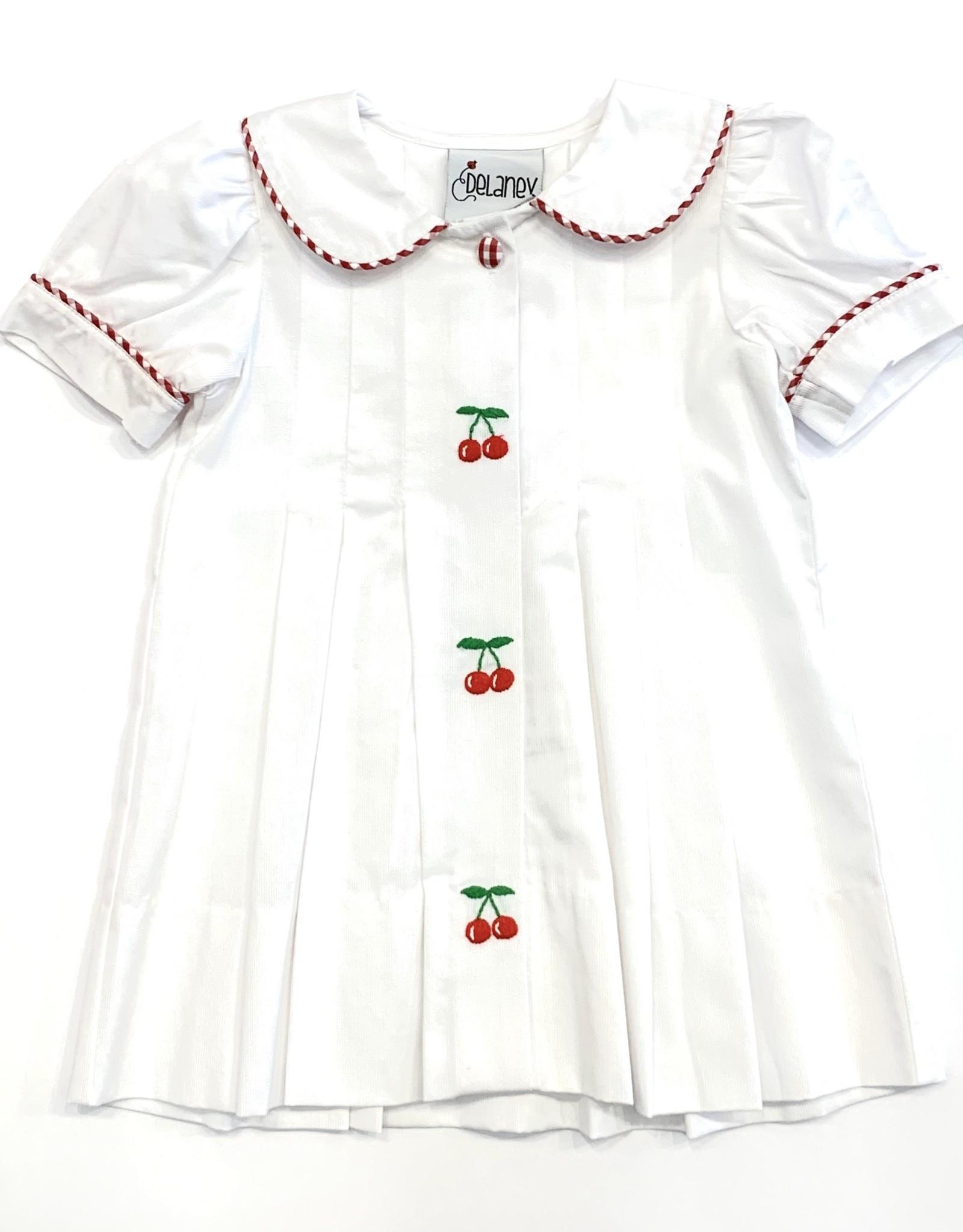 Delaney Girls White Cherry Embroidered Pleat Dress