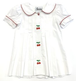 Delaney Girls White Cherry Embroidered Pleat Dress