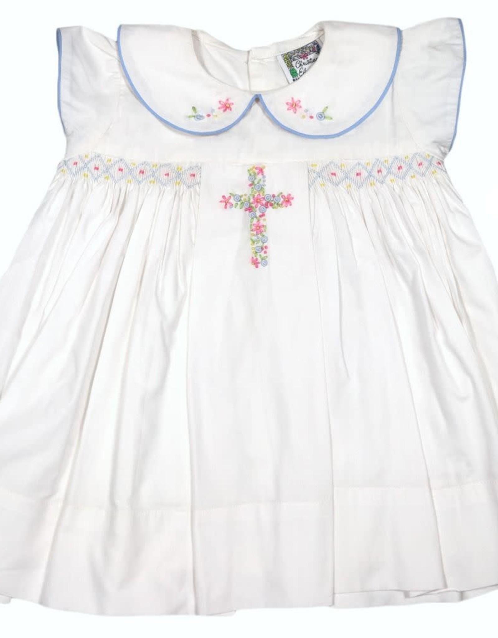 Christian Elizabeth White Rosemary Cross Easter Dress