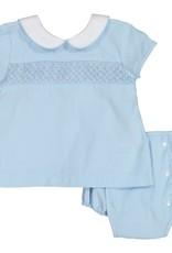 Pixie Lilly Smocked Blue Apron Bloomer Set