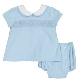 Pixie Lilly Smocked Blue Apron Bloomer Set